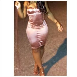 Rose pink satin bodycon party dress